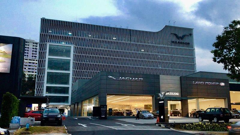 楼上楼门窗-新加坡路虎汽车4S店门窗幕墙工程