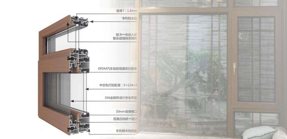 健康门窗-113附框式低碳铝木窗纱一体